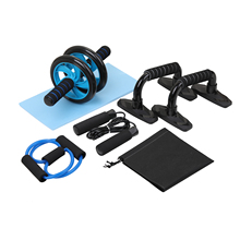 5-in-1 AB Wheel Roller Kit, Abdominal Press Pro with Push-UP Bars Jump Rope and Knee Pad Equipment for Home Muscle Fitness