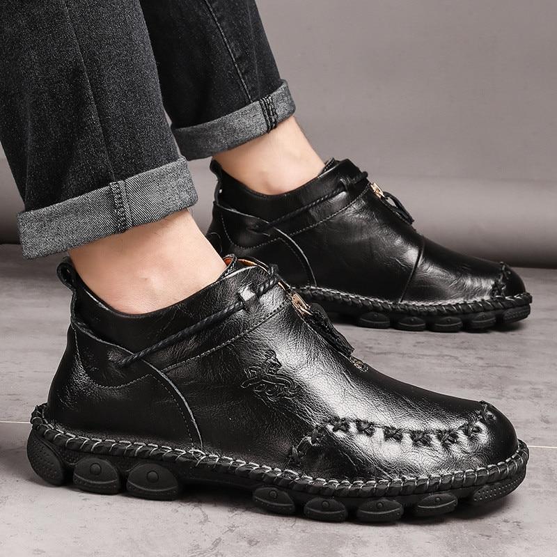 Alta qualidade de couro genuíno dos homens botas moda zíper sapatos masculinos couro de vaca homem marrom tornozelo botas 2019 outono mais tamanho 38-48 3