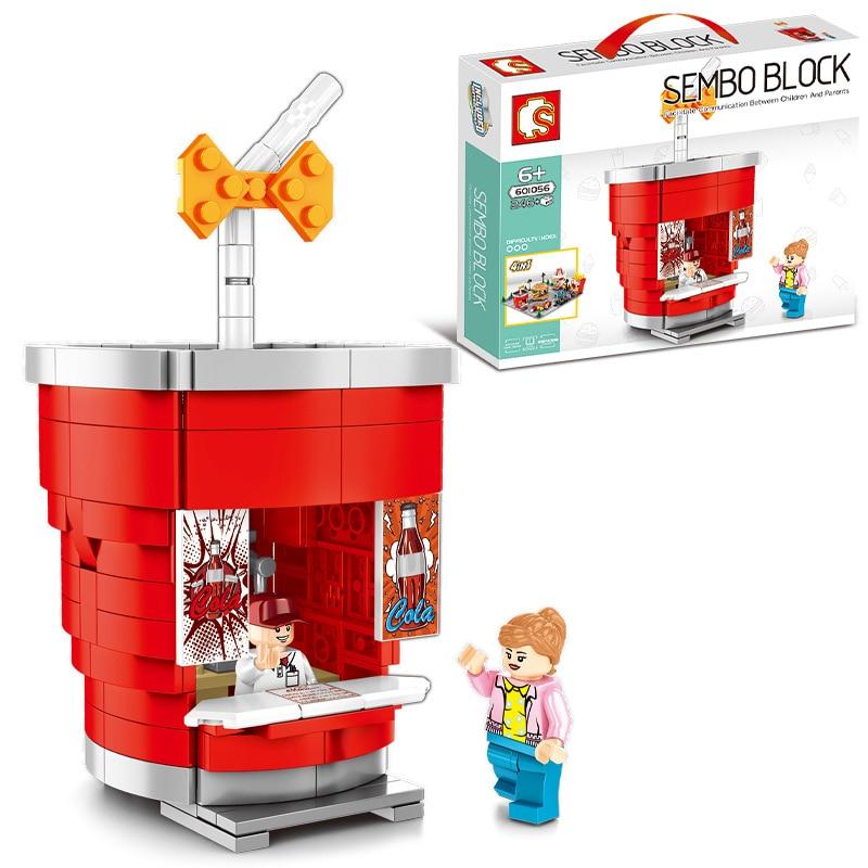 Sembo Legoing City Mini Street Scene Building Blocks Sets DIY Retail Hamburger Ice Cream French Fries Store Block Children Toys