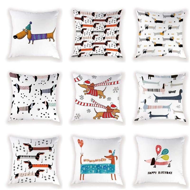 Christmas Cushion Cover 45\X2A45 Cm Decorative Cushion Dachshund Pillowcases On Pillows Simple Pillow Cover Home Decor Farmhouse