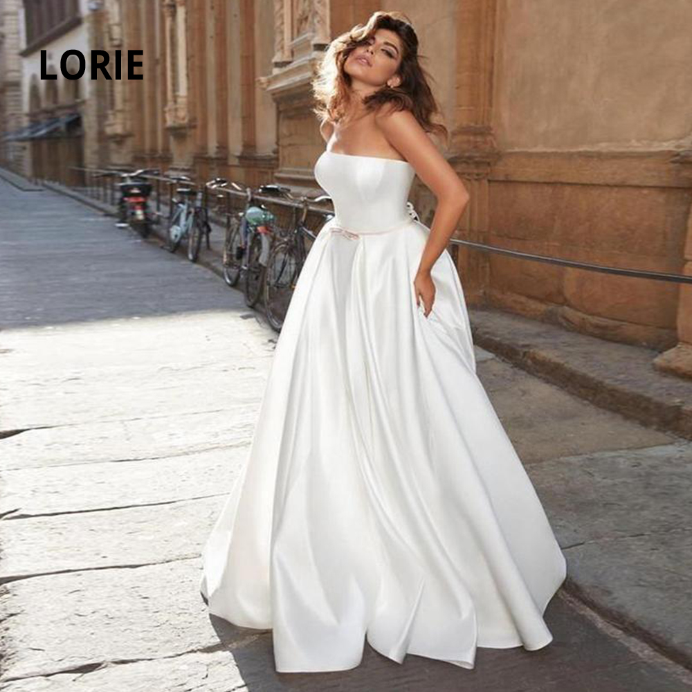 LORIE Sleeveless Corset Lacing Wedding Dresses 2020 Soft Satin Simple Beach Boho Bride Gowns Vintage Plus Size Robe De Mariee