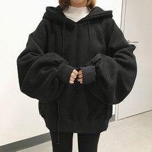 Artı boyutu 2020 kış moda Ulzzang Harajuku kadın İpli Hoodie kazak katı renk Hoodie tişörtü rahat Hoodies