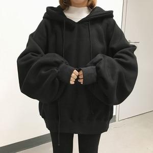 Image 1 - Sweat à capuche pour femmes, Ulzzang Harajuku, couleur unie, sweat shirt à capuche, grande taille, mode hiver, 2020, sweat à capuche avec cordon