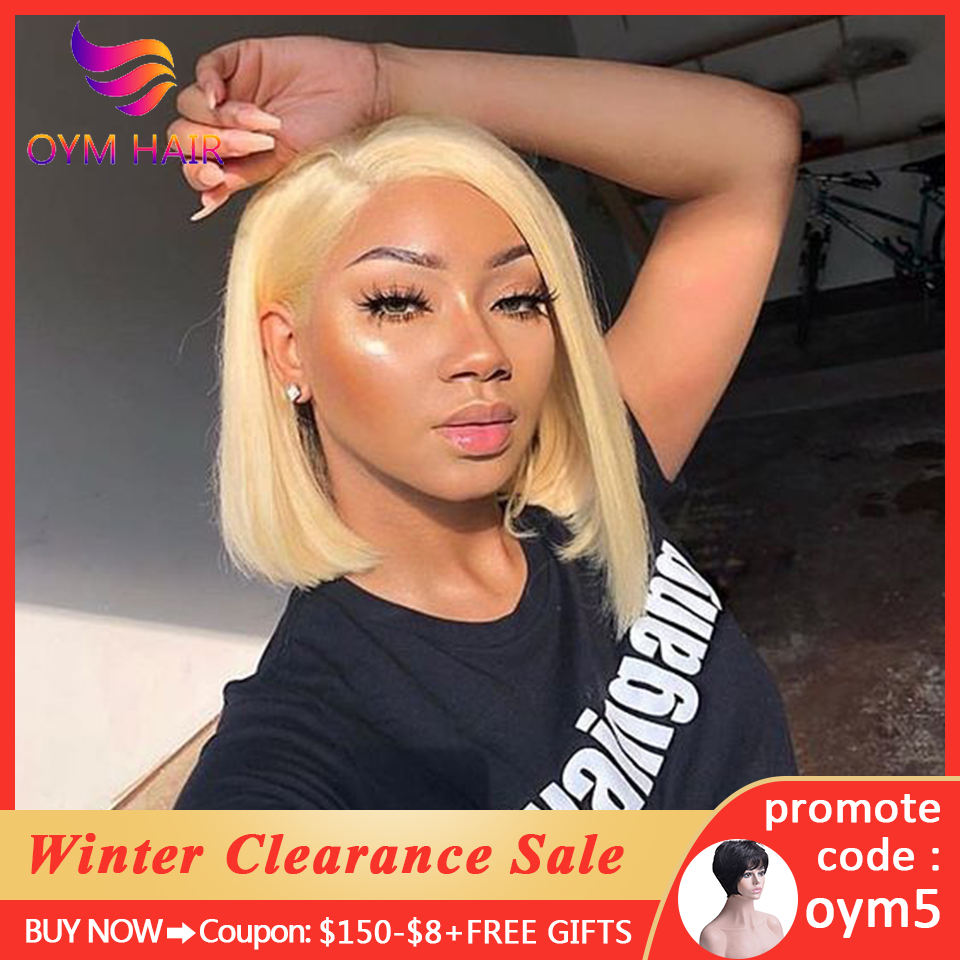 OYM HAIR 13x4 Lace Front Human Hair Wigs For Black Women Malaysian Remy Hair 150% Short Human Hair Bob Wigs With Baby Hair