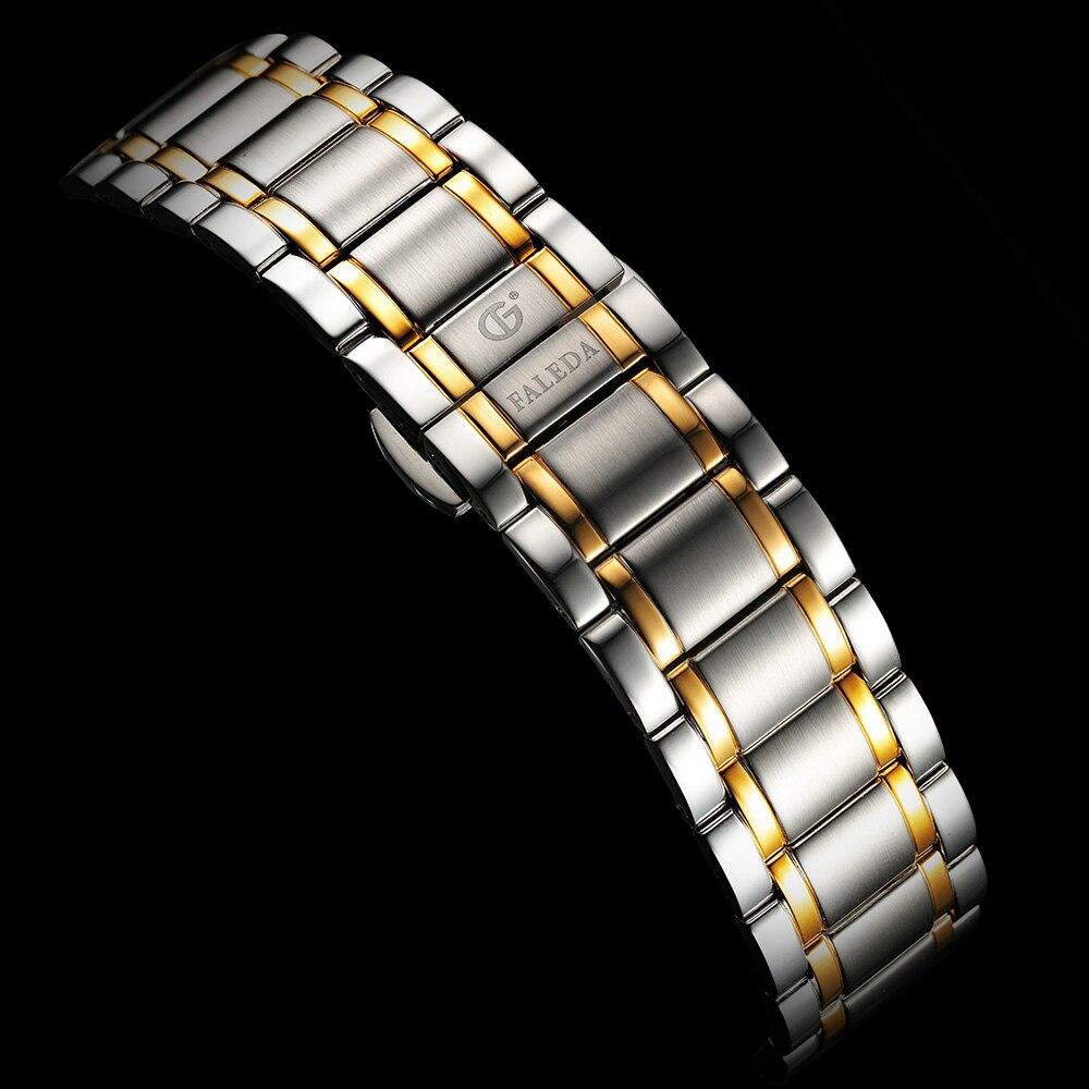 FALEDA Business calendrier Quartz hommes montre étanche saphir verre boîte en acier inoxydable Sport montre bracelet homme relogio masculino - 5