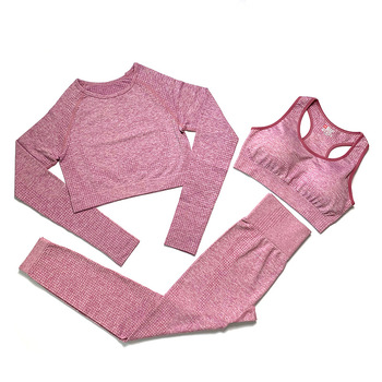 Women Fitness Wear Gym Fitness Clothing Women Suit Sportswear Female Workout Leggings Top Sport Clothes Training Tights image