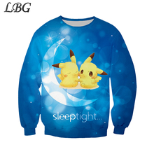 2019 LBG new sale Pokemon 3D print, cute cartoon boy girl sportswear fashion round neck sweatshirt.