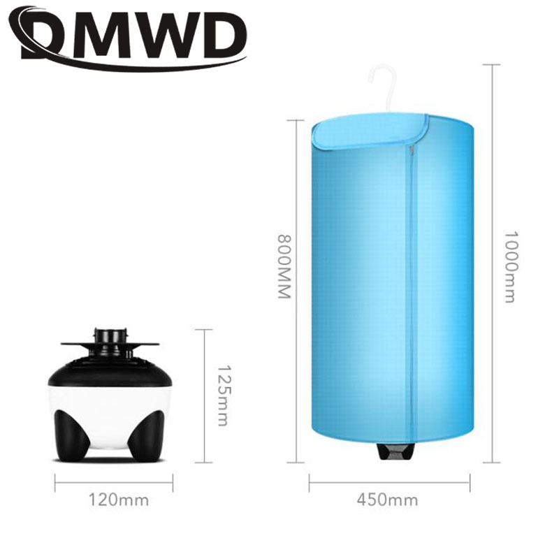 DMWD Electric Clothes Dryer Laundry Air Fan Heater Warmer Folding Wardrobe Dehydrator Baby Cloth Drying Machine Rack EU US Plug