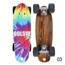 Mini Draagbare Maple Vis Plaat Vier Wielen Borstel Straat Dubbele Rocker Skateboard Skate Board Outdoor Sportartikelen 17 inches