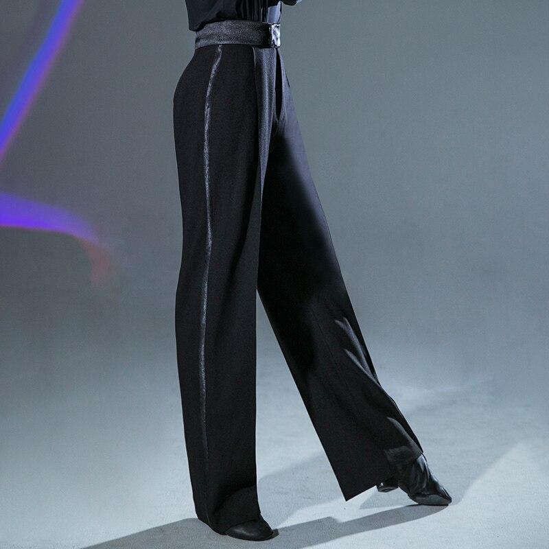 2019 Professional Men Black Latin Dance Pants Adult Ballroom Dance Pants Salsa Tango Rumba Samba Cha Cha Latin Trousers DQS2949