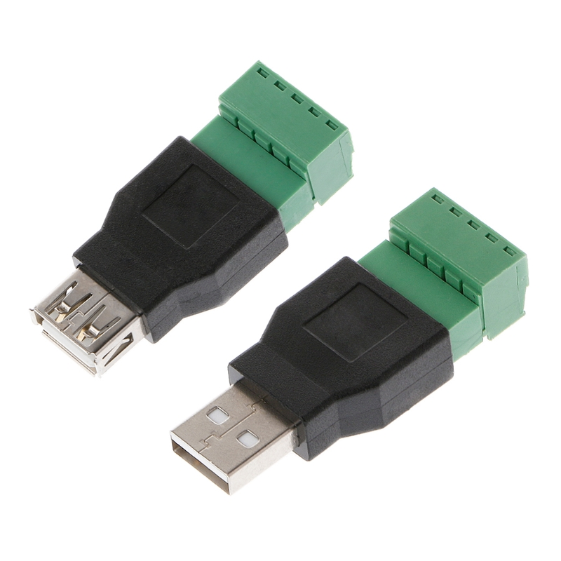 USB 2.0 Type A Male/Female To 5P Screw W/ Shield Terminal Plug Adapter Connector Female Jack USB Female To Screw Terminal
