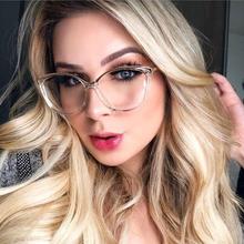 Kachawoo przezroczyste kocie okulary tr90 czarne przezroczyste okulary rama optyczne kobiety pół metalowe przezroczyste soczewki leopard tanie tanio WOMEN Stop Okulary akcesoria Stałe 60120 FRAMES transparent gold frame glasses alloy eyeglasses cat eye glasses frames