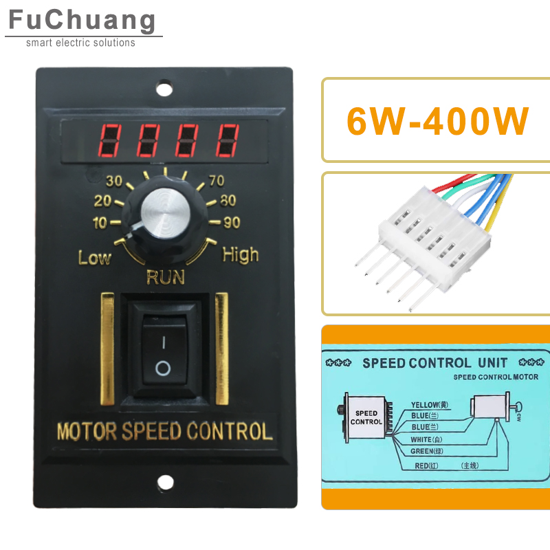 Speed Regulator UX-52 LED display AC 220V Motor speed controller 6W to 400W with filter capacitor Forward & Backward 50/60hz