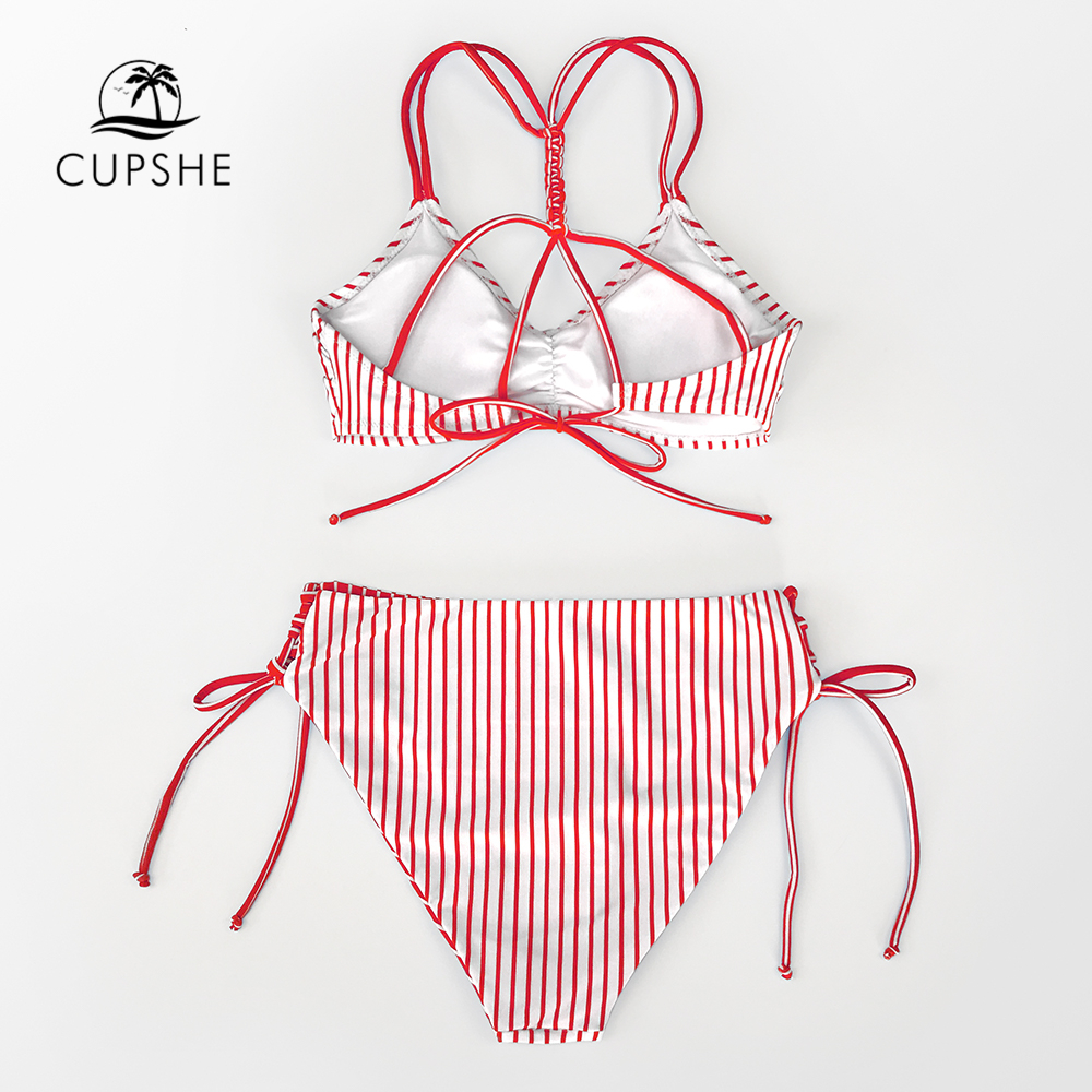Clearance SaleCUPSHE Swimsuit Bikini-Sets Bathing-Suits Bottom Strappy Reversible Two-Pieces Sexy White