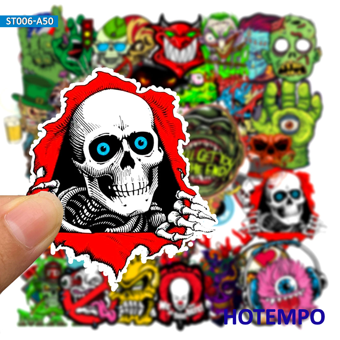50pcs Mixed Horror Series Stickers For DIY Mobile Phone Laptop Luggage Suitcase Guitar Skateboard Fixed Gear Decal Stickers
