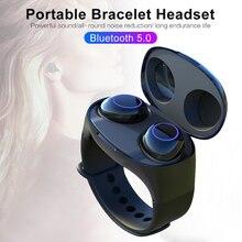 HM50 TWS Bluetooth 5,0 Drahtlose Tragbare Touch Control Kopfhörer Handgelenk Ohren Ohr Eintrag Sport Typ Lade Box Armband headset