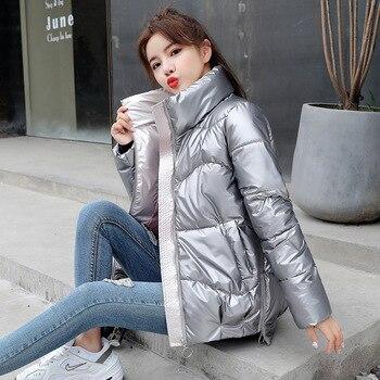 Fashion Short Glossy Parkas Women Winter Jacket Coat Warm Stand Collar Solid Soft Cotton Padded Jackets Female 2020 New цена 2017