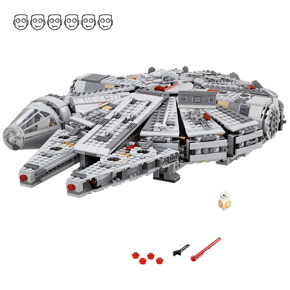 1381PCS Fit Star 75105 Wars Millennium Mini Warship Falcon Figure Set DIY Educational building blocks Toys For Children Gifts image