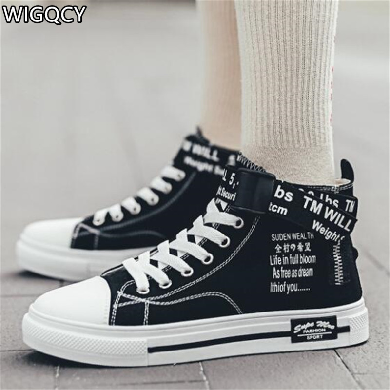 WIGQCY 2020new Spring And Autumn Couple Shoes High To Help Individual Canvas Shoes Wild Hip Hop Graffiti Fashion Sneakers A93