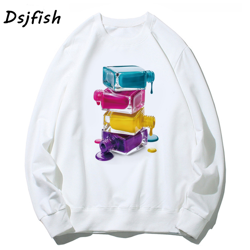Nail Polish Hoodies Women Elastic Basic Vogue Hoodie Sweatshirts For Girls Femme Casual Long Sleeve For Girl Hoody Top