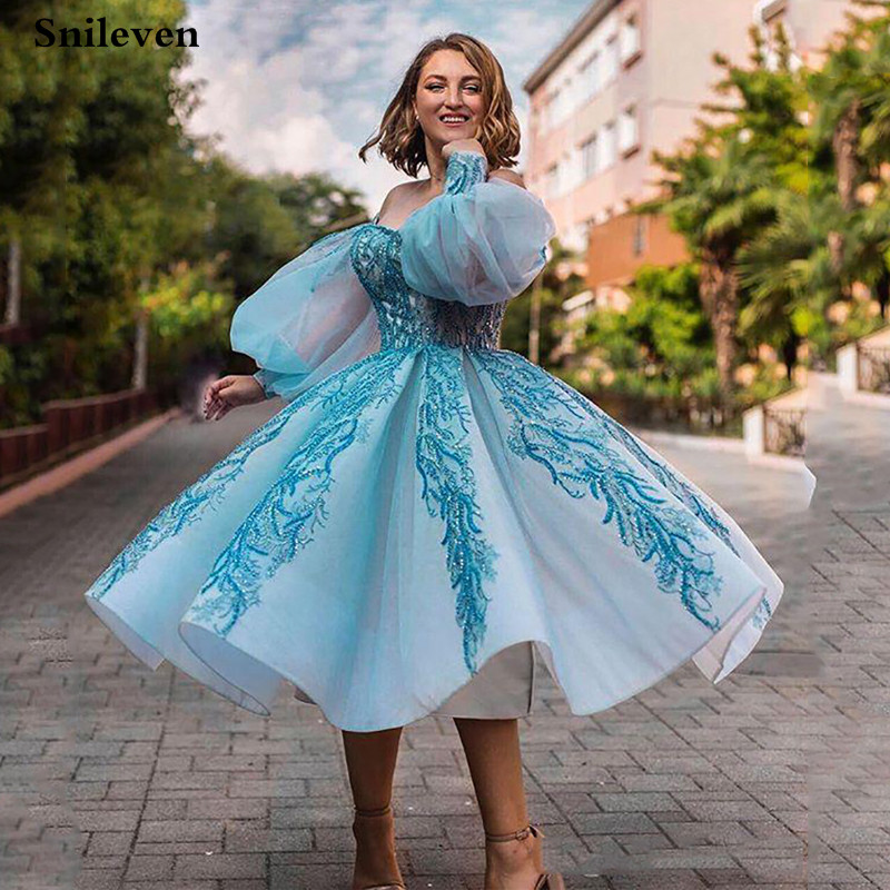Smileven Puff Sleeve Short Ball Gown Prom Dress Sequin Lace Evening Party Dress Robe De Soiree Off The Shoulder Party Gowns