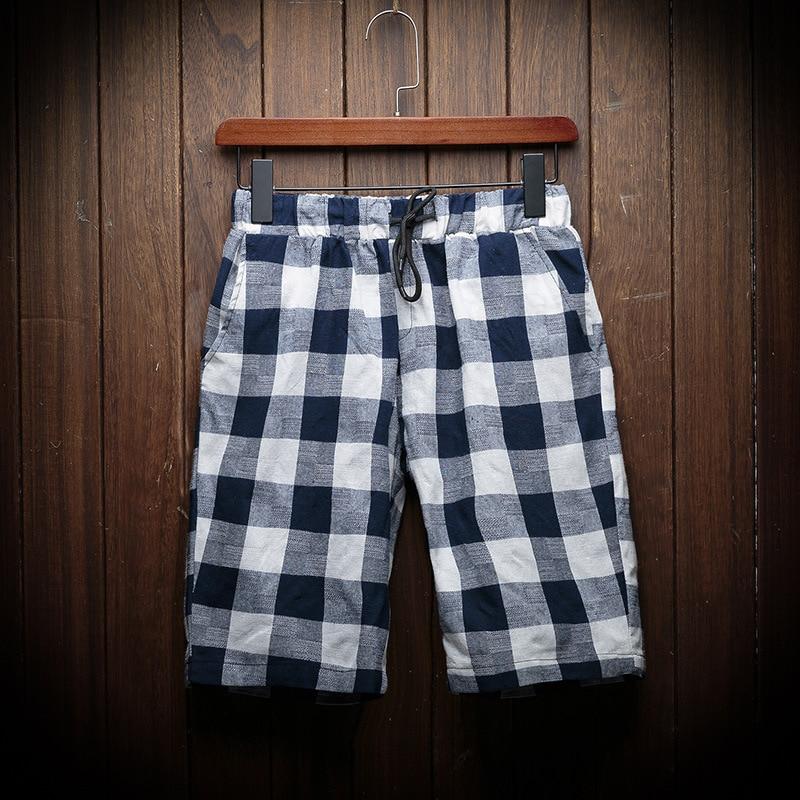 2019 Summer New Style Men Fashion With Drawstring Plaid Shorts Casual Flax Beach Shorts C183