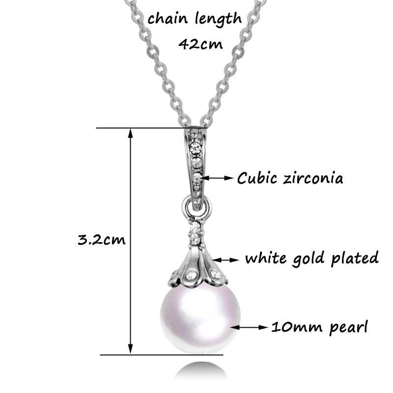 SINLEERY Elegant Pearl เครื่องประดับชุดผู้หญิงสีเงินต่างหูและชุดสร้อยคอจี้อุปกรณ์จัดงานแต่งงาน Tz132 SSC