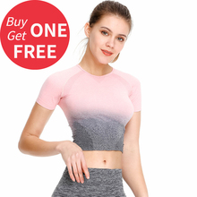 Women Sports T shirt Seamless Short Sleeve Running Sport Crop Top Sport Wear Four Way Stretch Fitness Gym Workout Tops four tops gateshead