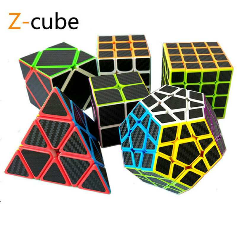 ZCUBE 7 Kinds Available Carbon Fiber Sticker Speed Magic Cubes 2x2 3x3 Pyramid Puzzle Youth Adult Instruction Toys For Children