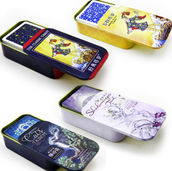 6 kinds Portable high quality Metal Box cat/wait/ Tarot Board Game Boxed Playing Card Tarot Board Game Family party card game
