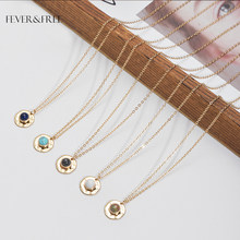 Fever&Free Women Party Inlay Stone Necklace Gold Chain Natural Stone Pendants Necklaces For Female Fashion Jewelry Drop Shipping(China)