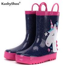 KushyShoo dziecięce kalosze 3D Star jednorożec kalosze dziecięce buty wodne wodoodporne maluch dziewczyna buty gumowe markowe buty