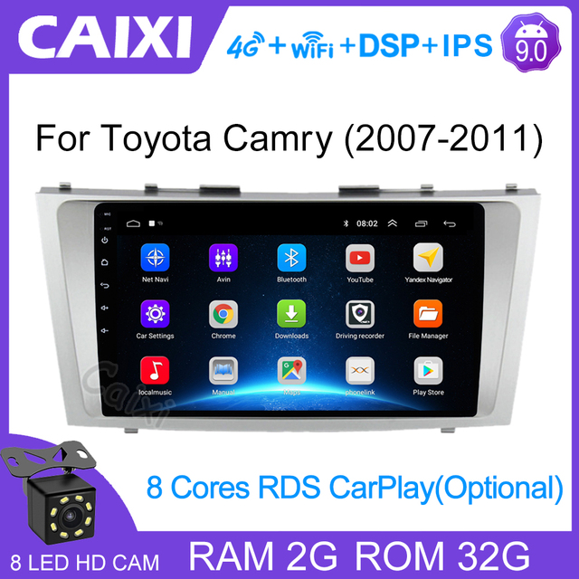 CaiXi 2din 9inch 2.5D Android 9.0 CAR DVD Radio Multimedia Player For Toyota Camry 2007 2008 2009 2010 2011 Navigation gps