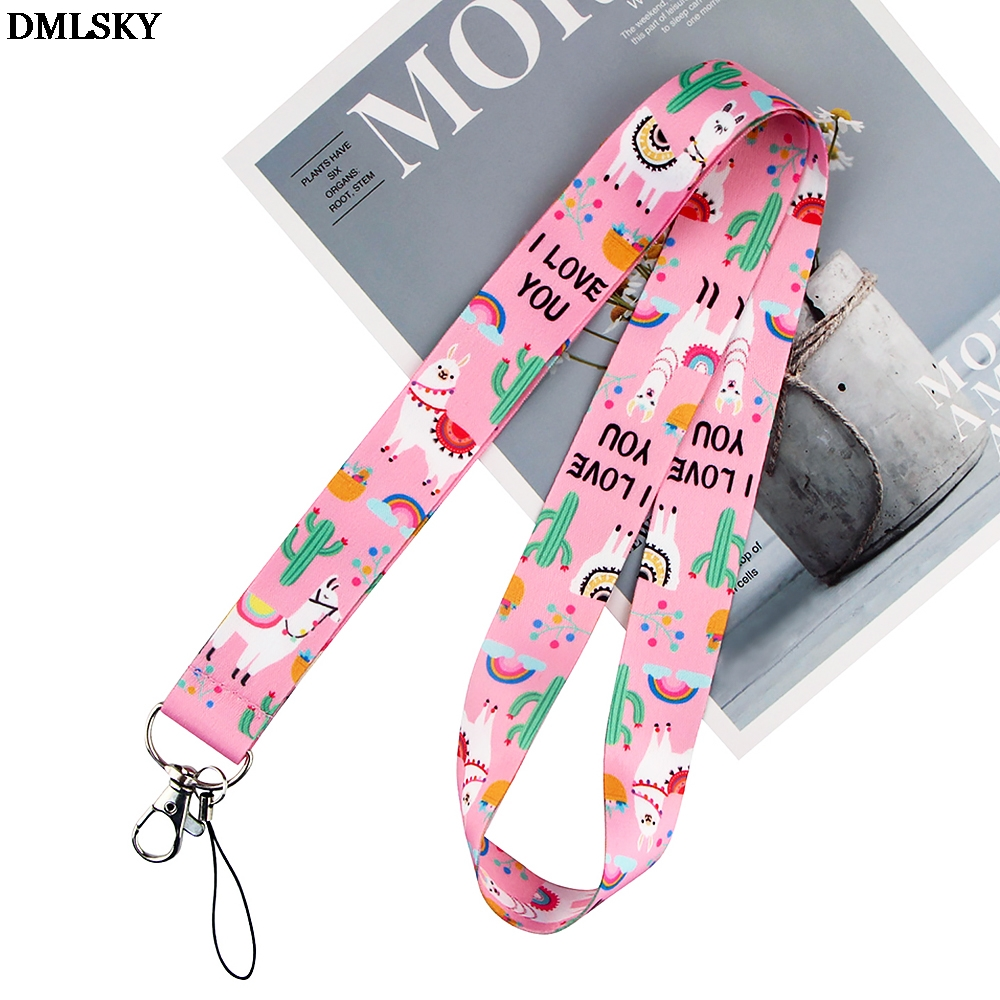 DMLSKY Alpaca Cactus Lanyard Keychain Lanyards for keys Badge ID Mobile Phone Rope Neck Straps Accessories Gifts M4428