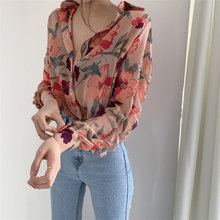 Alien Kitty 2020 Gentle Chiffon Thin Summer Brief Print Cute Sweet Chic Large Size Casual Floral All-Match Stylish Blouses
