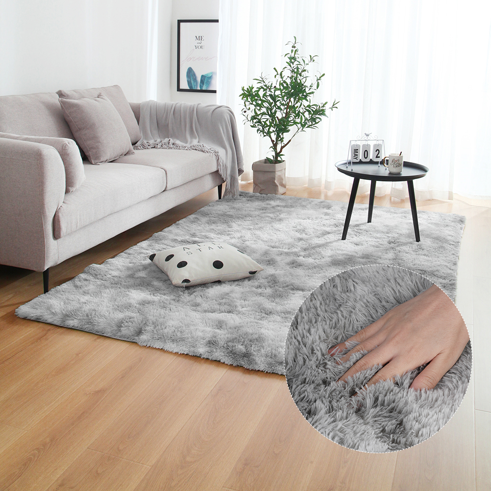 Grey Carpet Tie Dyeing Plush Soft Carpets For Bedroom Living Room Anti-slip Floor Mats Bedroom Water Absorption Carpet Rugs(China)