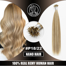 """Сказочные волосы remy 1""""-22"""" Remy микро бусы человеческие волосы для наращивания цвет пианино#18/22 кератин нано-Кольца для волос для наращивания человеческих волос"""