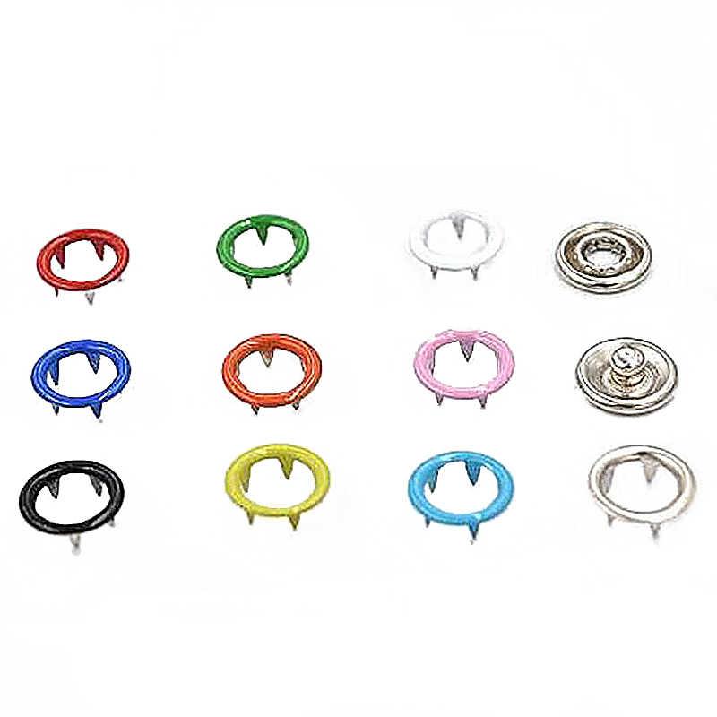 Juego de 100, clavija de Metal de gran calidad de 9,5mm, hebilla de cinco puntas de colores, botón a presión de Metal, accesorios de ropa de costura