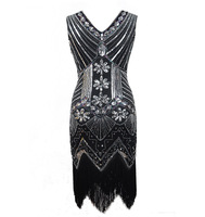 1920 Europe And America Retro Sequin Color Front And Back V neck Tassels Evening Dress Latin Party Formal One piece Dress