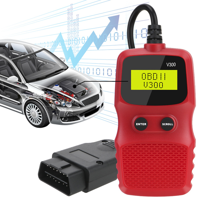 OBD2 Code Reader OBD 2 Scanner OBDII ELM 327 Plug and Play Car Diagnostic Tool Digital Display V300 Hand held