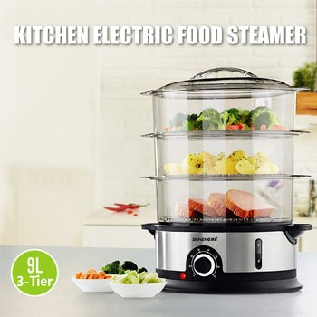 800W 9L 3 Tiers Electric Food Steamer Timing Home Food Steamer Kitchen Fish Cooking Machine Vegetable Pot Cooker Tools 220V