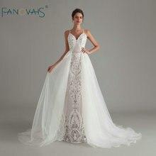 Vintage encaje sirena vestido de novia 2020 vestidos de boda de lentejuelas vestido de novia con desmontable tren robe de mariee