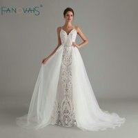 Vintage Lace Mermaid Wedding Dress 2020 Sequin Wedding Gowns vestido de noiva Bride Dress with Detachable Train robe de mariee