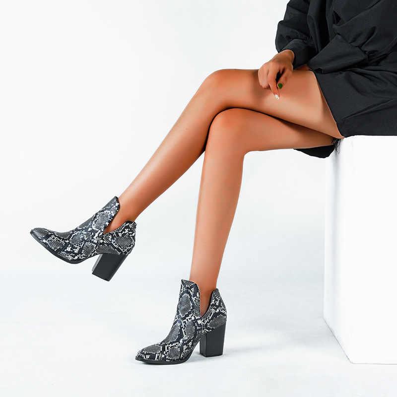 2021 motosiklet batı kovboy çizmeleri kadın hayvan yılan desen PU deri yüksek topuklar üzerinde kayma Cowgirl patik ayak bileği botas ayakkabı
