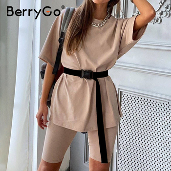 BerryGo Casual women's two piece suit outfits including belt Fashion summer set home loose sports leisure suit women tracksuit 1