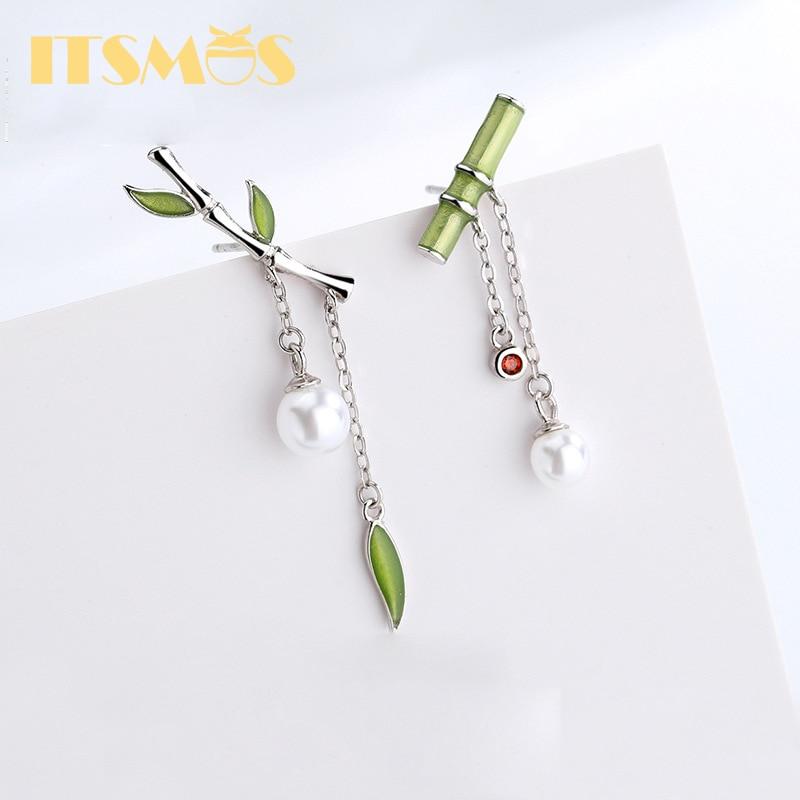 ITSMOS Enamel Earring Green Bamboo Earring Dangle with Pearl Retro Cute Studs for Women Silver Earrings Fashion Dainty Jewelry