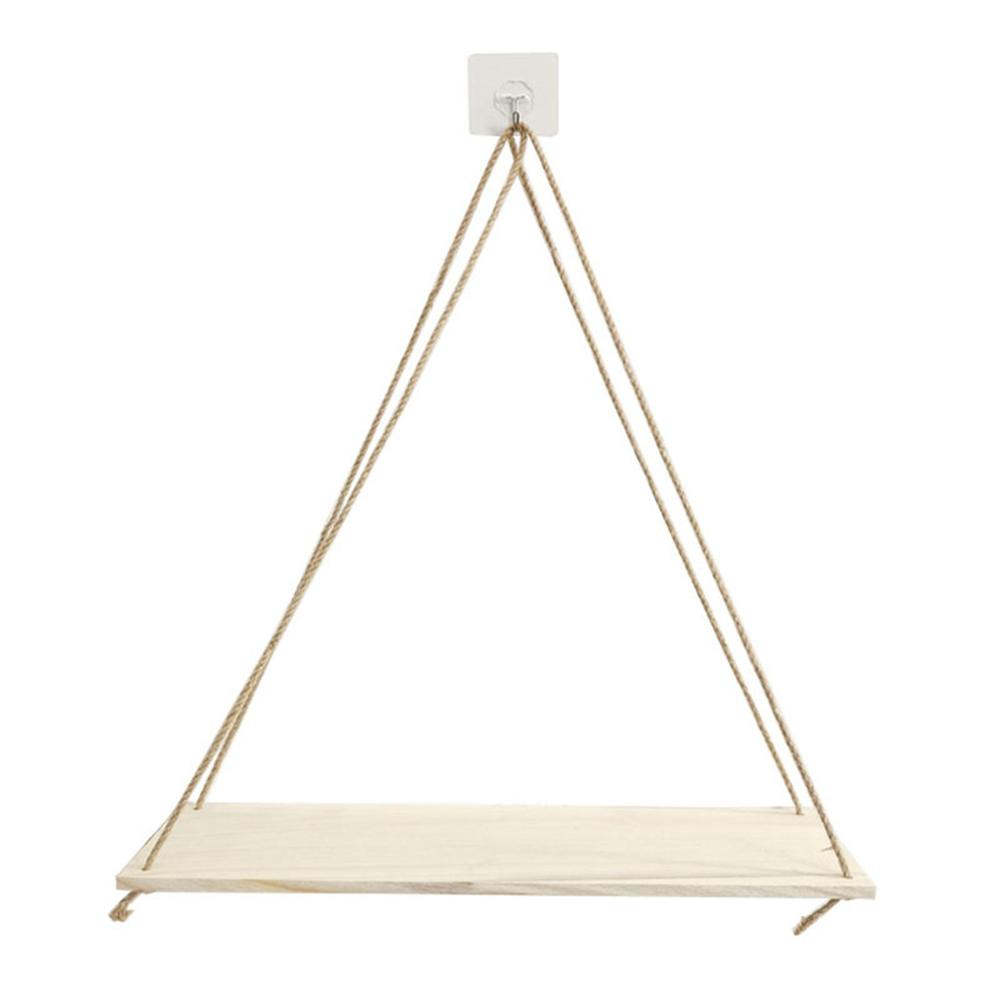 Premium Wood Swing Hanging Rope Wall Mounted Floating Shelves Plant Flower Pot indoor outdoor decoration simple design 6