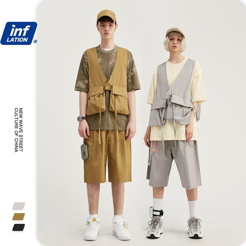 INFLATION Men Suit Streetwear Male Utility Vest Jacket With Pocket In Soild Color & Men Summer Shorter Shorts In Loose Fit