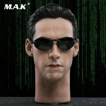 Collectible In Stock 1/6 Male Figure Accessory JX033 Keanu Reeves The Matrix Neo Head Sculpt Model With Glasses for 12'' Action