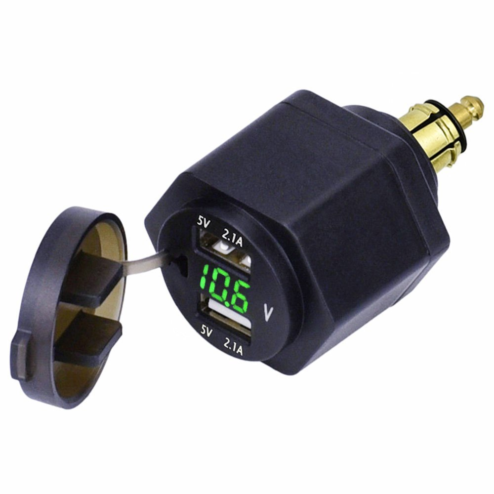 For DIN Hella Powerlet Plug to Dual USB Charger Adapter Voltmeter for Hella DIN BMW Motorcycle 12-24V DC 5v 4 2A